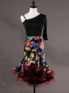 cheap Prom Dresses-Latin Dance Dress Pattern / Print Cascading Ruffles Women's Performance Half Sleeve Sleeveless Organza Spandex