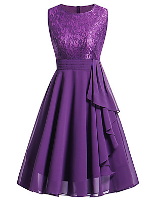 cheap Special Occasion Dresses-Women's Chiffon Dress Knee Length Dress - Sleeveless Solid Colored Lace Summer Sophisticated Holiday Going out Slim Wine Purple Pink Navy Blue S M L XL XXL