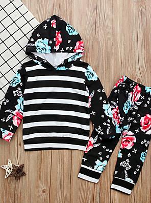 cheap Leggings-Toddler Girls' Daily Striped Long Sleeve Clothing Set Black / Cute