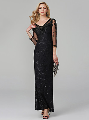 cheap Evening Dresses-Mermaid / Trumpet Elegant & Luxurious Sparkle & Shine See Through Formal Evening Wedding Party Dress V Neck 3/4 Length Sleeve Floor Length Lace Sequined with Beading 2020 / Illusion Sleeve