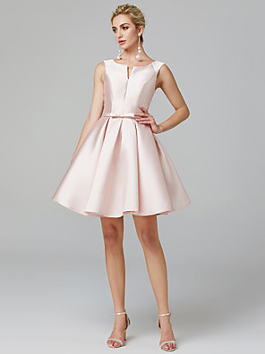 cheap Cocktail Dresses-A-Line Elegant Minimalist Cute Homecoming Cocktail Party Dress V Wire Sleeveless Knee Length Satin with Bow(s) Pleats 2020