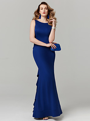 cheap Special Occasion Dresses-Sheath / Column Prom Formal Evening Dress Bateau Neck Boat Neck Sleeveless Floor Length Spandex with Beading Ruffles 2020