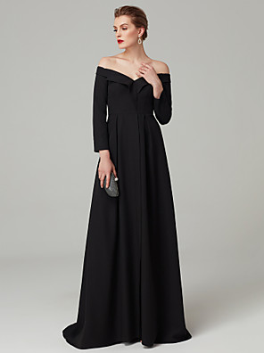 cheap Wedding Dresses-Ball Gown Celebrity Style Open Back Formal Evening Black Tie Gala Dress Off Shoulder Long Sleeve Floor Length Spandex with Pleats Draping 2020