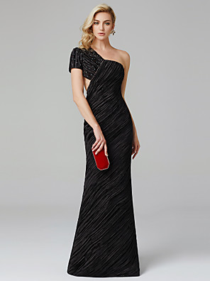 cheap Bridesmaid Dresses-Sheath / Column Celebrity Style Formal Evening Black Tie Gala Dress One Shoulder Short Sleeve Floor Length Charmeuse with Pleats Beading 2020