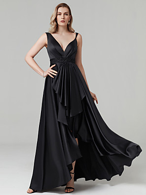 cheap Prom Dresses-A-Line Celebrity Style High Low Prom Formal Evening Dress Plunging Neck Sleeveless Asymmetrical Satin with Sash / Ribbon Beading 2020