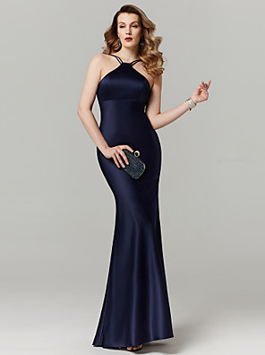 cheap Special Occasion Dresses-Sheath / Column Elegant Minimalist Holiday Cocktail Party Prom Dress Y Neck Sleeveless Floor Length Satin with Bandage 2020 / Formal Evening