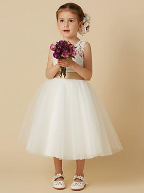 Πριγκίπισσα Μέχρι το γόνατο Φόρεμα για Κοριτσάκι Λουλουδιών - Δαντέλα    Τούλι Αμάνικο Με Κόσμημα με 86aec98358b