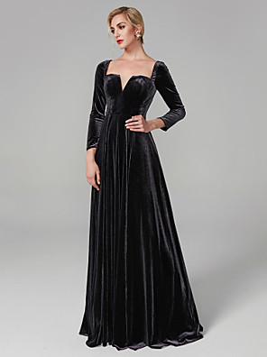 cheap Evening Dresses-Ball Gown Elegant Celebrity Style Holiday Cocktail Party Formal Evening Dress Square Neck Long Sleeve Floor Length Velvet with Pleats 2020