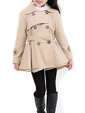 cheap Girls' Dresses-Kids Girls' Street chic Daily Solid Colored Long Sleeve Long Trench Coat Pink