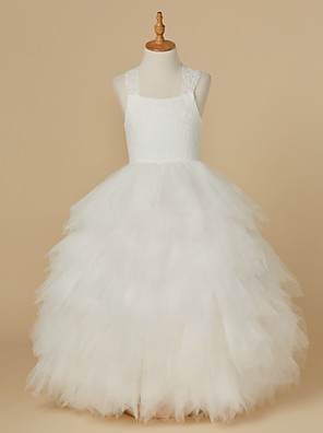 cheap Flower Girl Dresses-Ball Gown Ankle Length Wedding / First Communion Flower Girl Dresses - Lace / Tulle Sleeveless Straps with Bow(s)