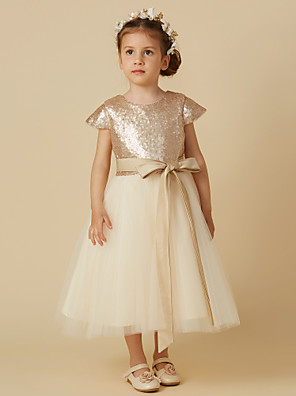 cheap Junior Bridesmaid Dresses-Princess Tea Length Pageant Flower Girl Dresses - Tulle / Sequined Short Sleeve Jewel Neck with Bow(s)
