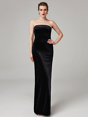 cheap Special Occasion Dresses-Sheath / Column Celebrity Style Minimalist Furcal Holiday Cocktail Party Formal Evening Dress Strapless Sleeveless Floor Length Velvet with Pleats Split 2020