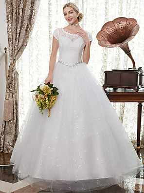 cheap Wedding Dresses-A-Line Wedding Dresses Scoop Neck Floor Length Satin Lace Over Tulle Cap Sleeve Romantic Illusion Detail with Crystals Appliques 2020