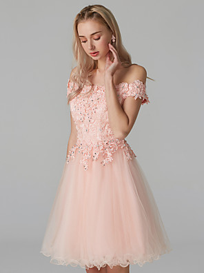 cheap Cocktail Dresses-A-Line Floral Cute Homecoming Prom Dress Off Shoulder Short Sleeve Short / Mini Lace Over Tulle with Beading Appliques 2020