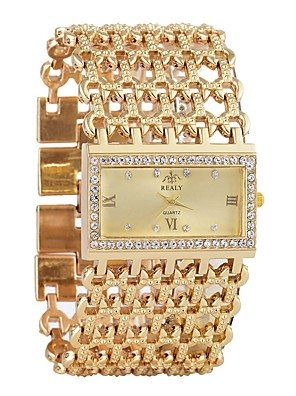 cheap Quartz Watches-Women's Wrist Watch Diamond Watch Gold Watch Quartz Luxury Chronograph Silver / Gold Analog - Gold Silver One Year Battery Life / Imitation Diamond / SSUO LR626