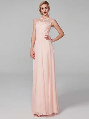 cheap Prom Dresses-A-Line Elegant Pink Prom Formal Evening Dress Illusion Neck Sleeveless Floor Length Chiffon Lace Bodice with Appliques 2020