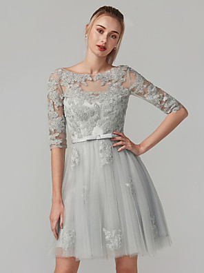 cheap Special Occasion Dresses-A-Line Beautiful Back Cute Homecoming Prom Dress Boat Neck Half Sleeve Short / Mini Lace Bodice with Bow(s) Appliques 2020 / Illusion Sleeve