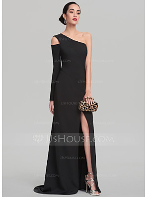 cheap Mother of the Bride Dresses-Sheath / Column Elegant Furcal Prom Formal Evening Dress One Shoulder Long Sleeve Sweep / Brush Train Satin with Split Front 2020