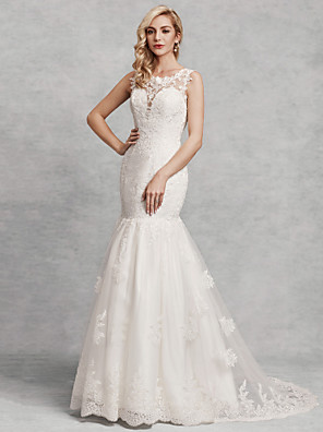 cheap Wedding Dresses-Mermaid / Trumpet Wedding Dresses Scoop Neck Court Train Lace Satin Tulle Regular Straps Beautiful Back with Lace Appliques 2020