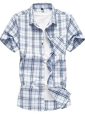 cheap Men's Shirts-Men's Daily Plus Size Shirt Plaid Short Sleeve Slim Tops Cotton Basic Blue Yellow / Summer