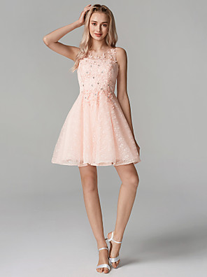 cheap Cocktail Dresses-Back To School A-Line Sparkle Pink Homecoming Cocktail Party Dress Illusion Neck Sleeveless Short / Mini Tulle Floral Lace with Sequin Appliques 2020 Hoco Dress
