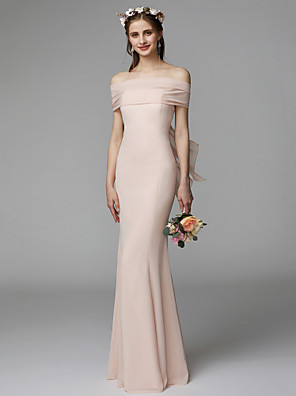 cheap Bridesmaid Dresses-Mermaid / Trumpet Strapless Floor Length Chiffon Bridesmaid Dress with Sash / Ribbon / Pleats