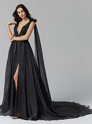 cheap Evening Dresses-Ball Gown Celebrity Style Furcal Formal Evening Dress Plunging Neck Sleeveless Court Train Organza Spandex with Tassel Split Front Flower 2020