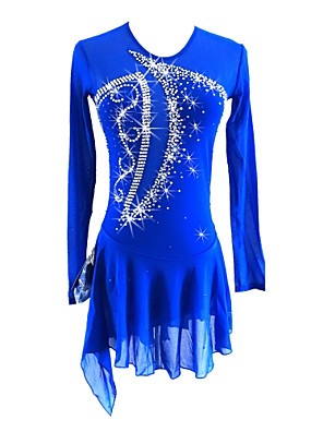 cheap Ice Skating Dresses , Pants & Jackets-Figure Skating Dress Girls' Ice Skating Dress Royal Blue Asymmetric Hem Spandex Stretchy Professional Competition Skating Wear Sequin Long Sleeve Figure Skating
