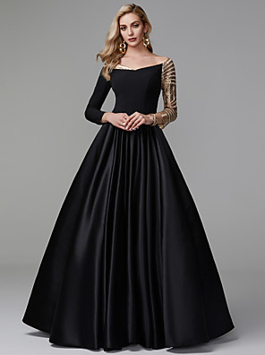 cheap Prom Dresses-Ball Gown Sparkle Black Quinceanera Formal Evening Dress Off Shoulder Long Sleeve Floor Length Satin Sequined with Sequin 2020