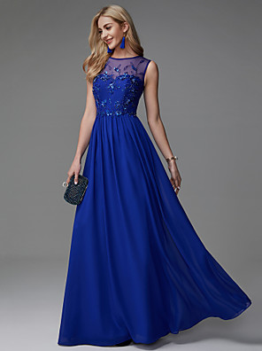 cheap Evening Dresses-A-Line Empire Blue Wedding Guest Formal Evening Dress Illusion Neck Sleeveless Floor Length Chiffon with Appliques 2020