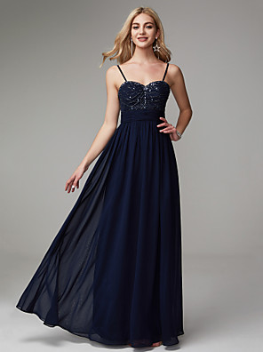 cheap Special Occasion Dresses-A-Line Elegant Minimalist Prom Formal Evening Dress Spaghetti Strap Sleeveless Floor Length Chiffon with Pleats Beading 2020