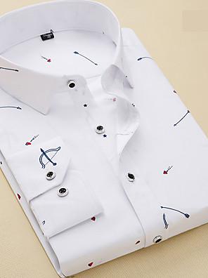 cheap Shirts-Men's Geometric Shirt Business Basic Daily Work Weekend White / Long Sleeve / Slim