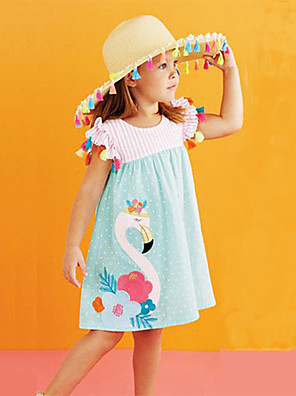 cheap Girls' Dresses-Toddler Girls' Sweet Boho Holiday Weekend Flamingos Striped Floral Color Block Patchwork Embroidered Print Sleeveless Knee-length Dress Blue / Cotton