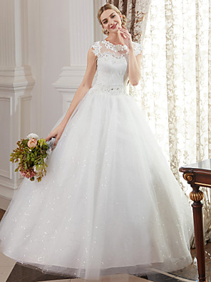 cheap Wedding Dresses-Ball Gown Wedding Dresses Jewel Neck Floor Length Lace Over Tulle Cap Sleeve Romantic Illusion Detail with Beading Appliques 2020