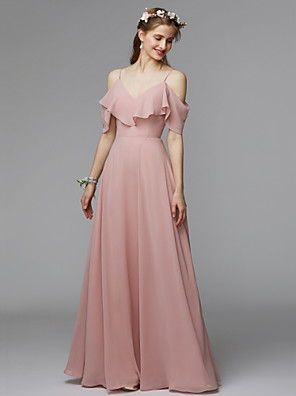 cheap Bridesmaid Dresses-A-Line Spaghetti Strap Floor Length Chiffon / Charmeuse Bridesmaid Dress with Ruffles / Open Back