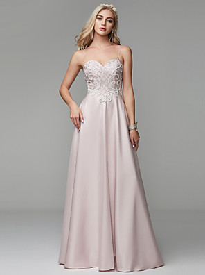 cheap Special Occasion Dresses-A-Line Empire Pink Prom Formal Evening Dress Spaghetti Strap Sleeveless Floor Length Satin with Crystals Pattern / Print 2020
