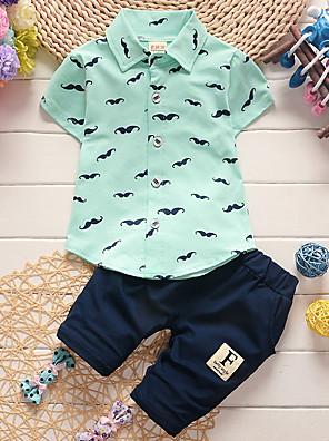 cheap Boys' Clothing Sets-Baby Boys' Basic Daily Print Short Sleeve Regular Clothing Set White / Toddler