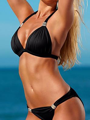 cheap Bikinis-Women's Triangle Halter Elegant Sexy Bikini Swimsuit Push Up Solid Colored Strap V Neck Swimwear Bathing Suits Light Blue Black Blue Orange / Padded Bras