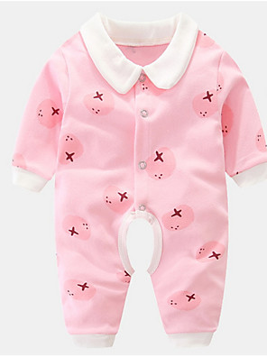 cheap Baby Girls' One-Piece-Baby Unisex Basic Solid Colored / Print Long Sleeve Cotton Romper Blushing Pink