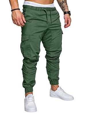 cheap Men's Pants & Shorts-Hiking Pants Men's Basic Plus Size Daily wfh Sweatpants / Cargo Pants - Solid Colored Spring Fall Navy Blue Khaki Light gray XXL XXXL XXXXL