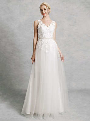 cheap Wedding Dresses-A-Line Wedding Dresses V Neck Court Train Lace Satin Tulle Regular Straps Romantic Illusion Detail Backless with Beading Appliques 2020