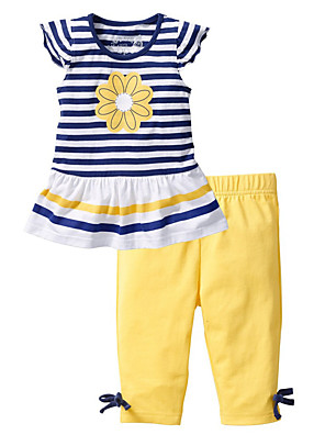 cheap Girls' Dresses-Toddler Girls' Active Daily Holiday Solid Colored Striped Print Short Sleeve Regular Cotton Clothing Set Yellow / Cute