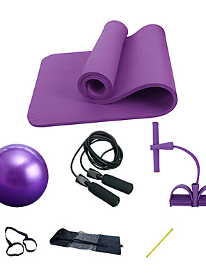 cheap Girls' Dresses-Yoga Mat Set 7 pcs Yoga Mat Jump Rope Pedal Resistance Band Sports Sponge Rubber NBR Home Workout Gym Pilates Odor Free Eco-friendly Professional High Density Non Toxic Thick Strength Training