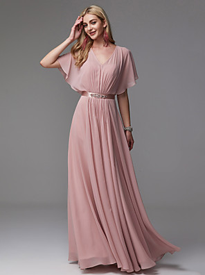 cheap Evening Dresses-A-Line Elegant Pastel Colors Prom Formal Evening Dress V Neck Short Sleeve Floor Length Chiffon Satin with Pleats Beading 2020