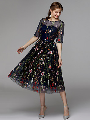 cheap Cocktail Dresses-A-Line Floral Black Holiday Cocktail Party Dress Illusion Neck Half Sleeve Tea Length Organza Satin Chiffon with Embroidery Appliques 2020