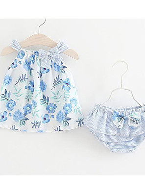 cheap Baby Girls' One-Piece-Baby Girls' Cute / Active Daily / Holiday Floral Bow / Print Sleeveless Regular Regular Cotton Clothing Set Blue / Toddler