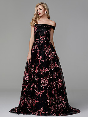 cheap Evening Dresses-Ball Gown Elegant Floral Prom Formal Evening Dress Off Shoulder Sleeveless Court Train Lace Satin with Appliques 2020
