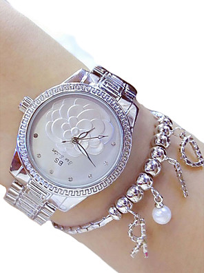 cheap Quartz Watches-Women's Dress Watch Quartz Ladies Chronograph Stainless Steel Silver / Gold Analog - Gold Silver Two Years Battery Life