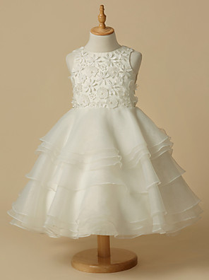 cheap Evening Dresses-A-Line Knee Length Wedding / First Communion Flower Girl Dresses - Lace / Organza Sleeveless Scoop Neck with Lace