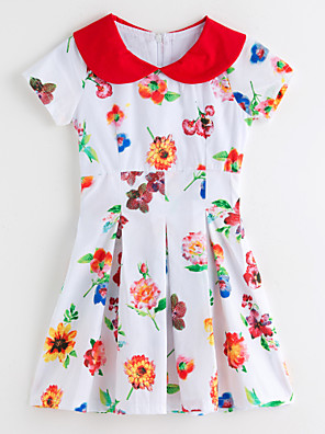 cheap Girls' Dresses-Toddler Girls' Floral Floral Short Sleeve Dress White